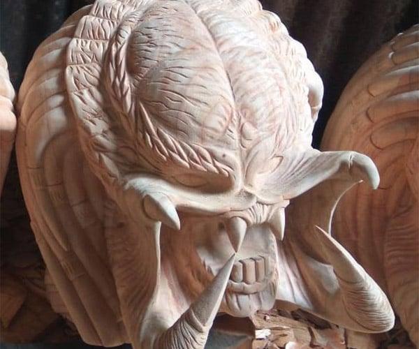 Wooden Predator Bust