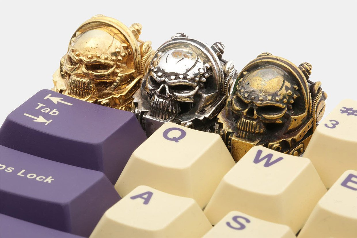 Upgrade Your Keyboard with These Metal Skull Marine Keycaps