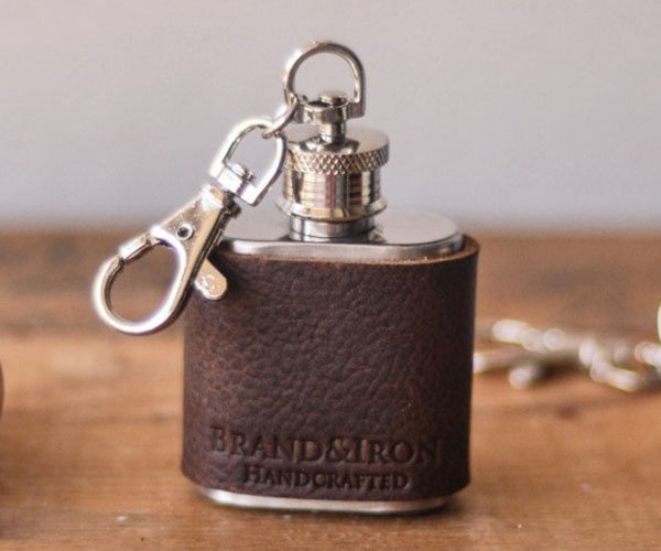 Leather Keychain Flask