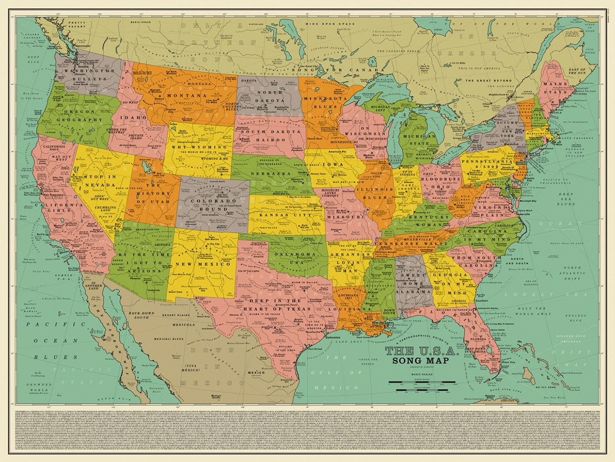 Map Of Canada Song.A Map Of America In Song Titles