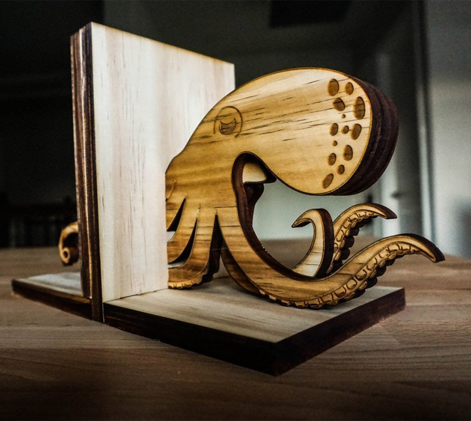 Wood Kraken Bookends