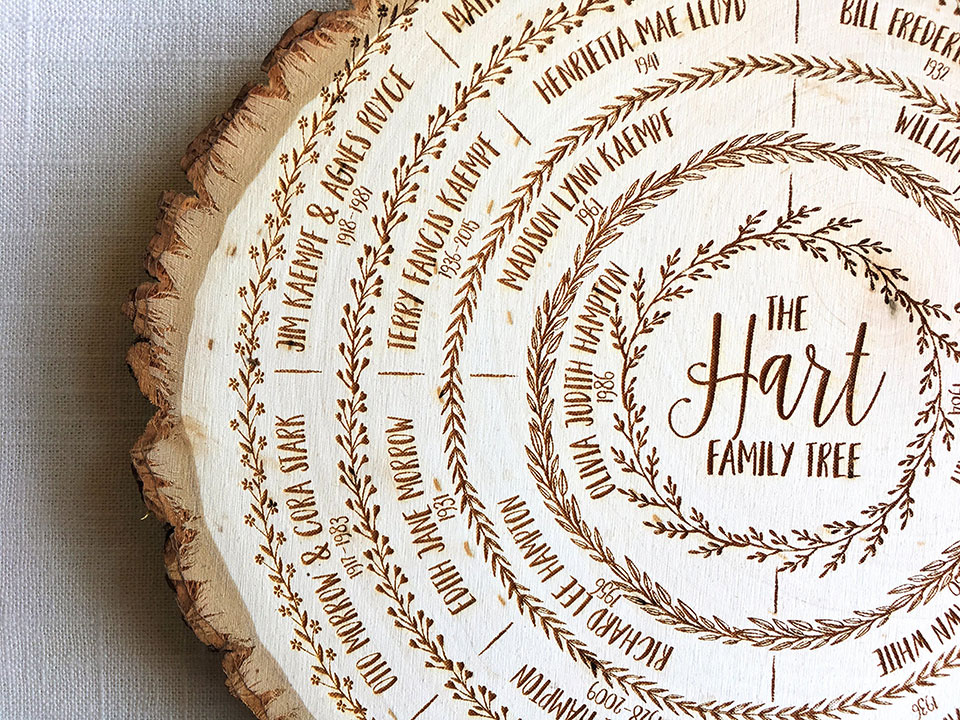 Wood Slice Family Tree