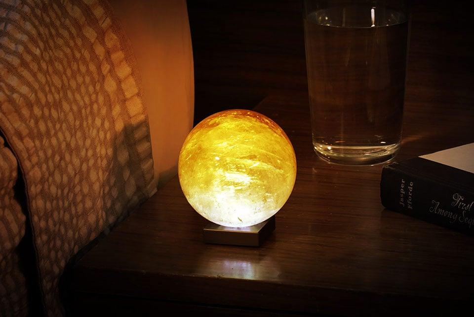 This Beautiful Spherical Gemstone Mood Lamp Looks Like The Sun