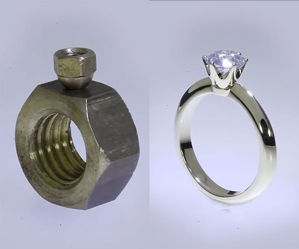 Making a Hex Nut Diamond Ring