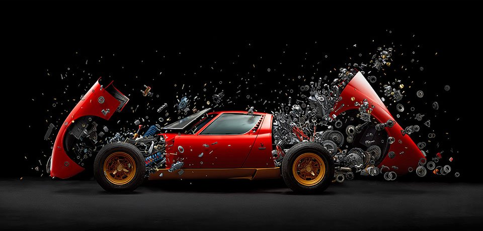 This Exploded View Photo Of A Lamborghini Miura Took 2 Years To Make