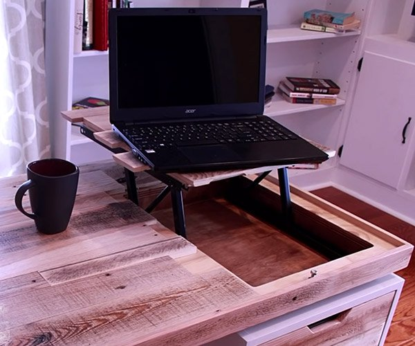 Desk with Hidden Laptop Storage