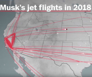 Elon Musk's Flights (with Sounds)