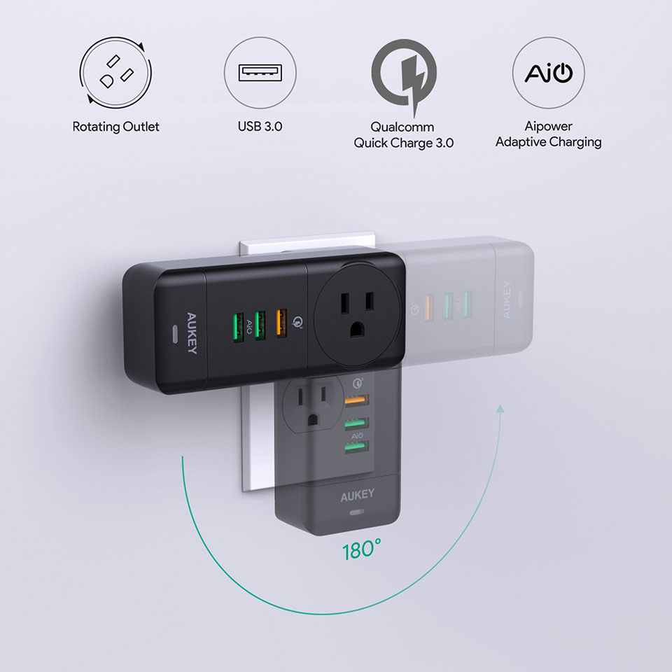Aukey Rotating USB Wall Charger