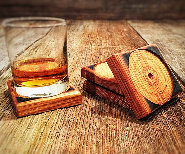 Bourbon Barrel Coasters