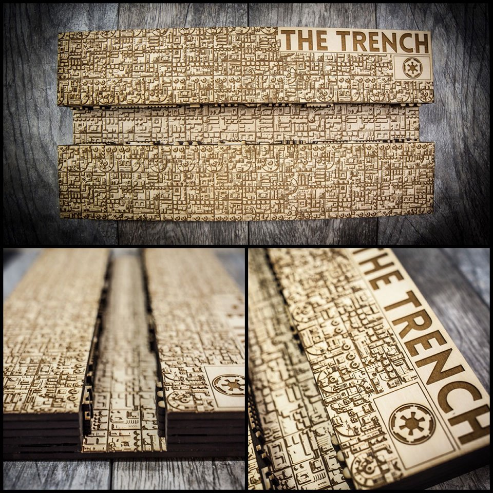 Death Star Trench Wood Map