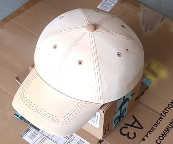 Carving a Wooden Baseball Cap