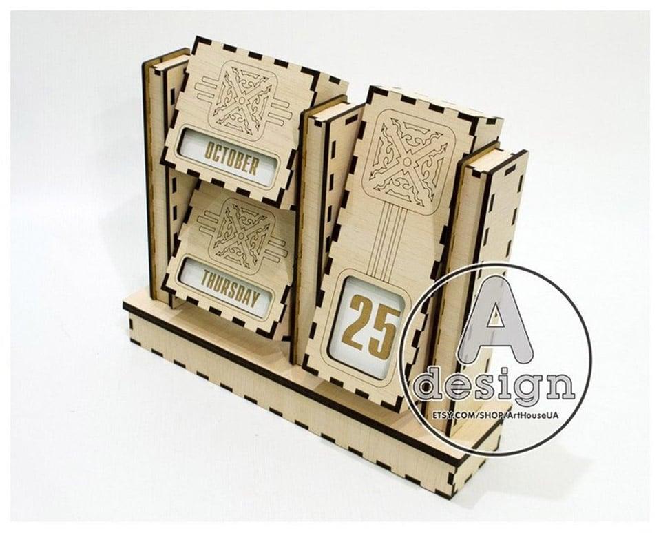 Wooden Flip Perpetual Calendar