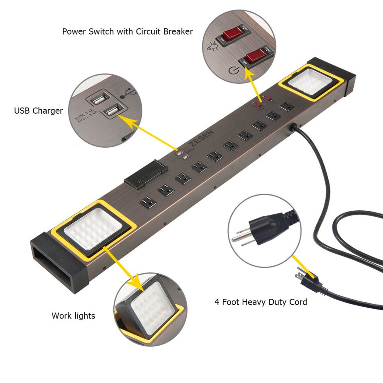 Zesen Power Strip Work Light