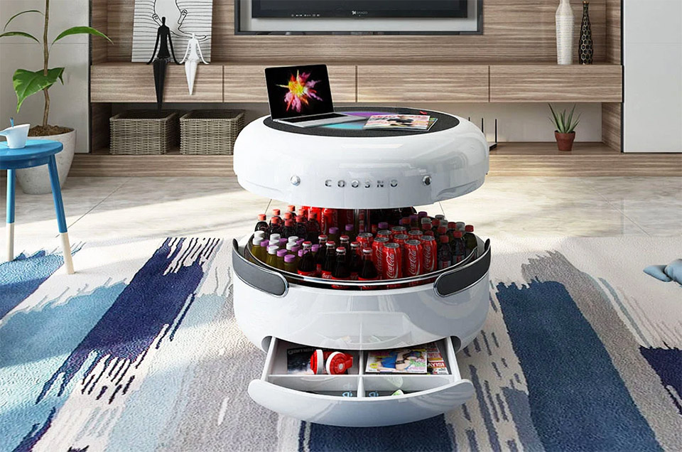 Coosno Coffee Table Fridge