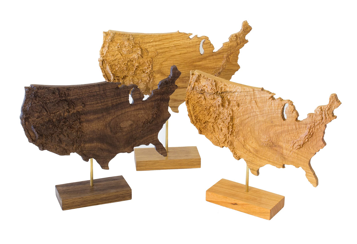 Topographic Wood Maps