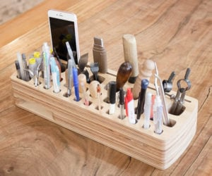 Wooden Tool and Pen Rack