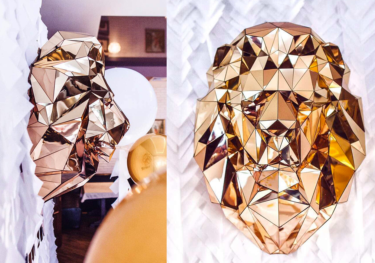 Low Poly Gold Lion