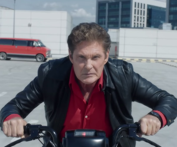 David Hasselhoff in Moped Rider