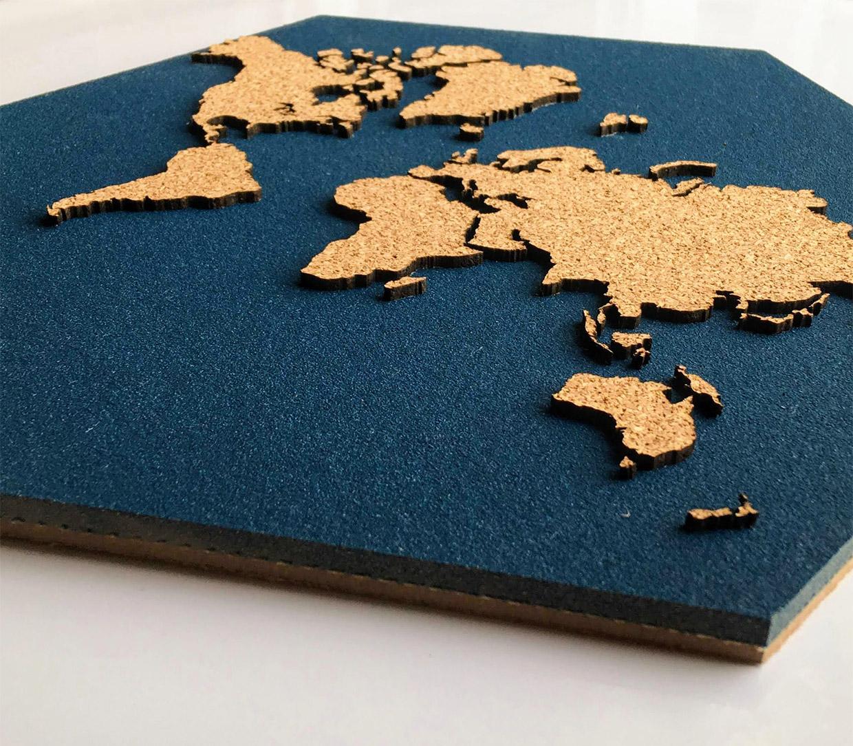 Hexagon Cork World Map