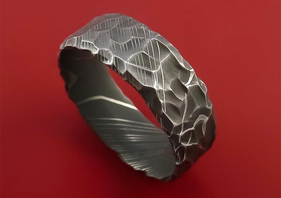 Sharp Axe Damascus Rings