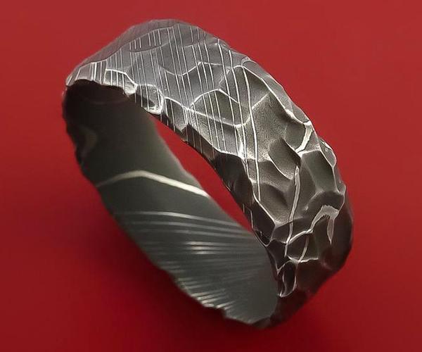 Sharp Axe Damascus Rings