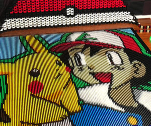 Ash and Pikachu in Dominoes