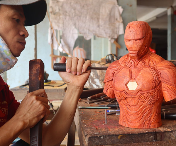 Iron Man Wood Carving