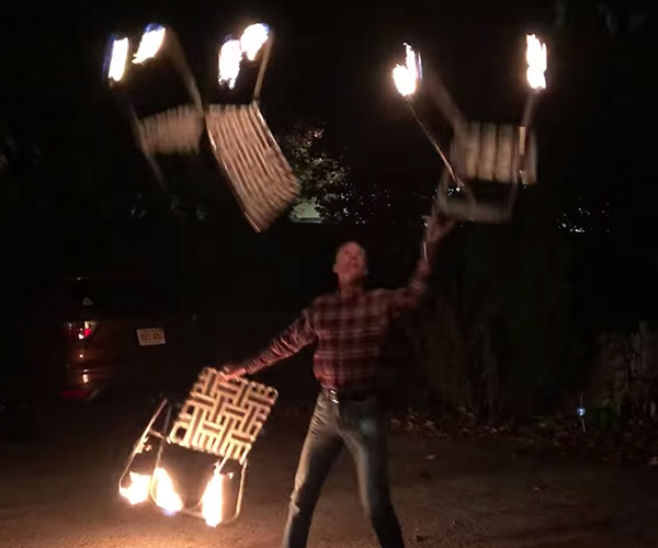 Juggling Flaming Lawn Chairs