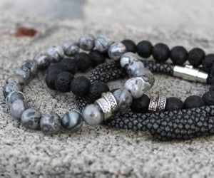 Lava Rock and Agate Bracelets