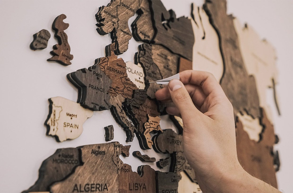 Wooden World Wall Map