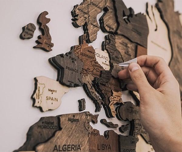 Wooden World Wall Map