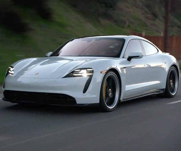 Jay Leno Drives the Porsche Taycan