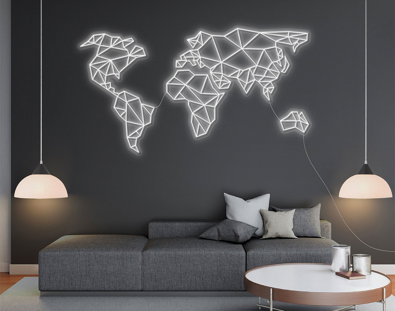 "LED ""Neon"" World Map"