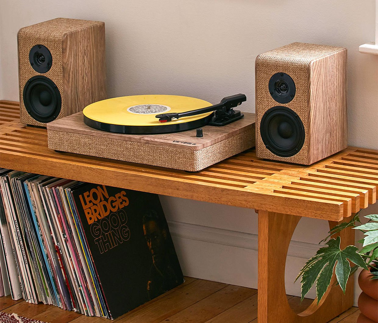 Wood and Linen Record Player