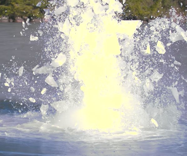 Exploding a Tire Under Ice
