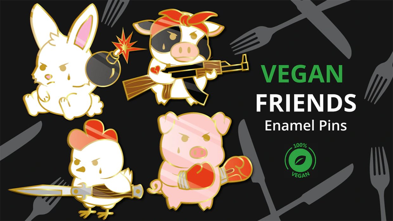 Vegan Friends Enamel Pins