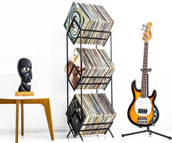 Triple Vinyl Record Tower
