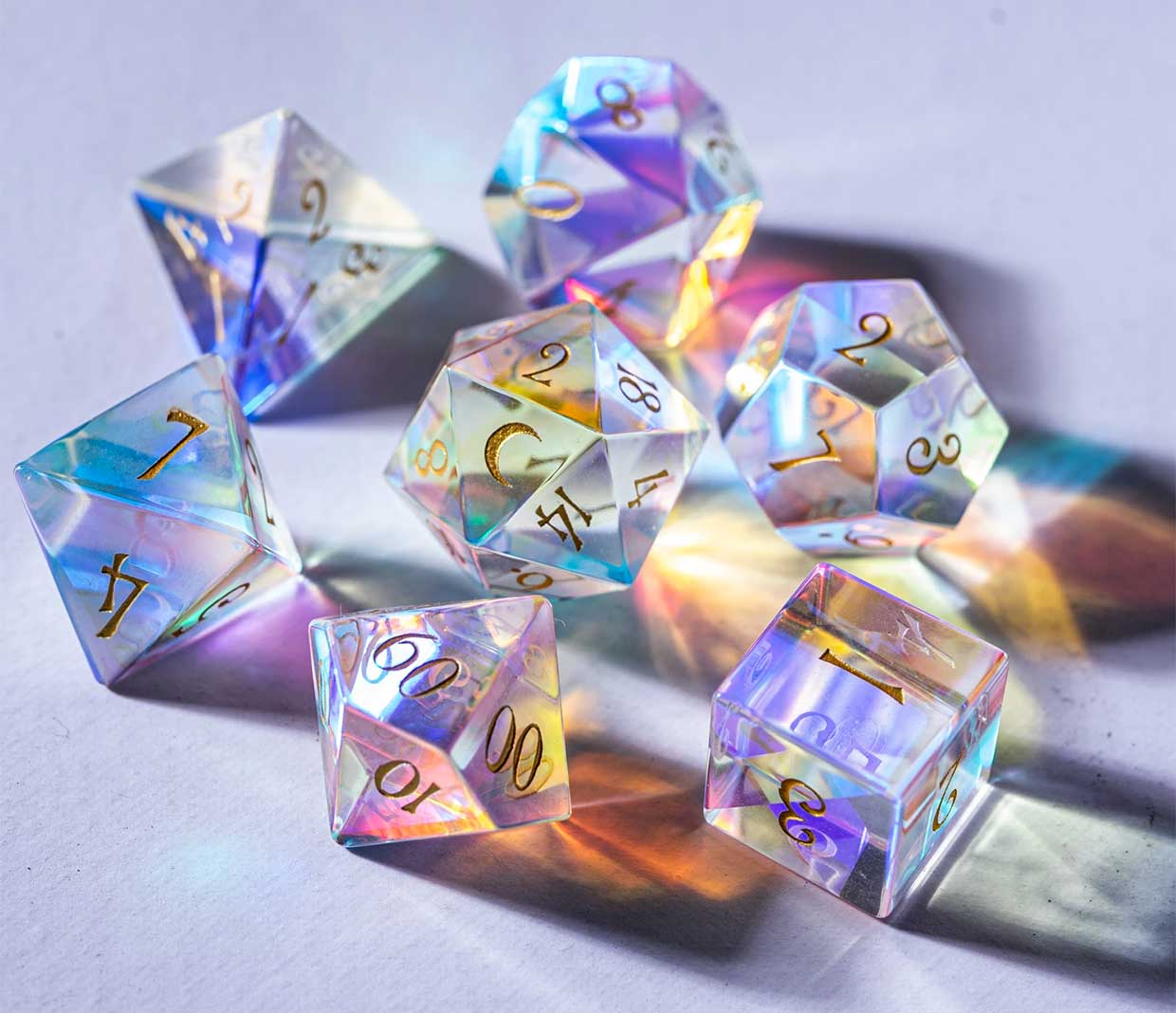 Dichroic Prism Glass Dice Set