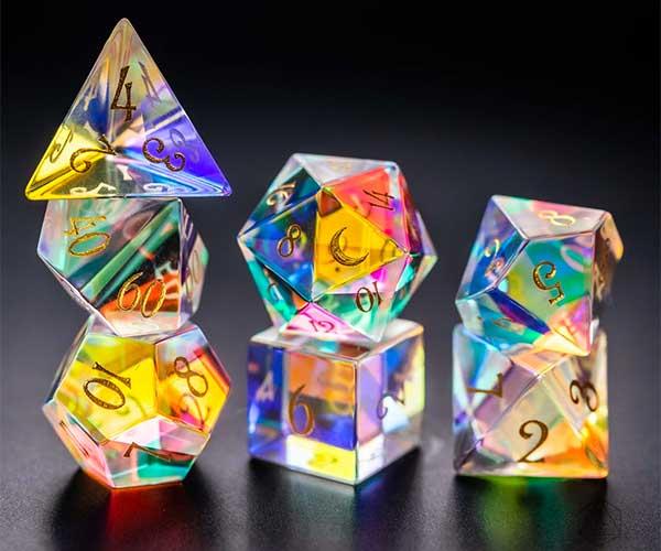 Dichroic Prism Glass Dice Set