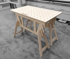 Flat-pack Wood Workbench