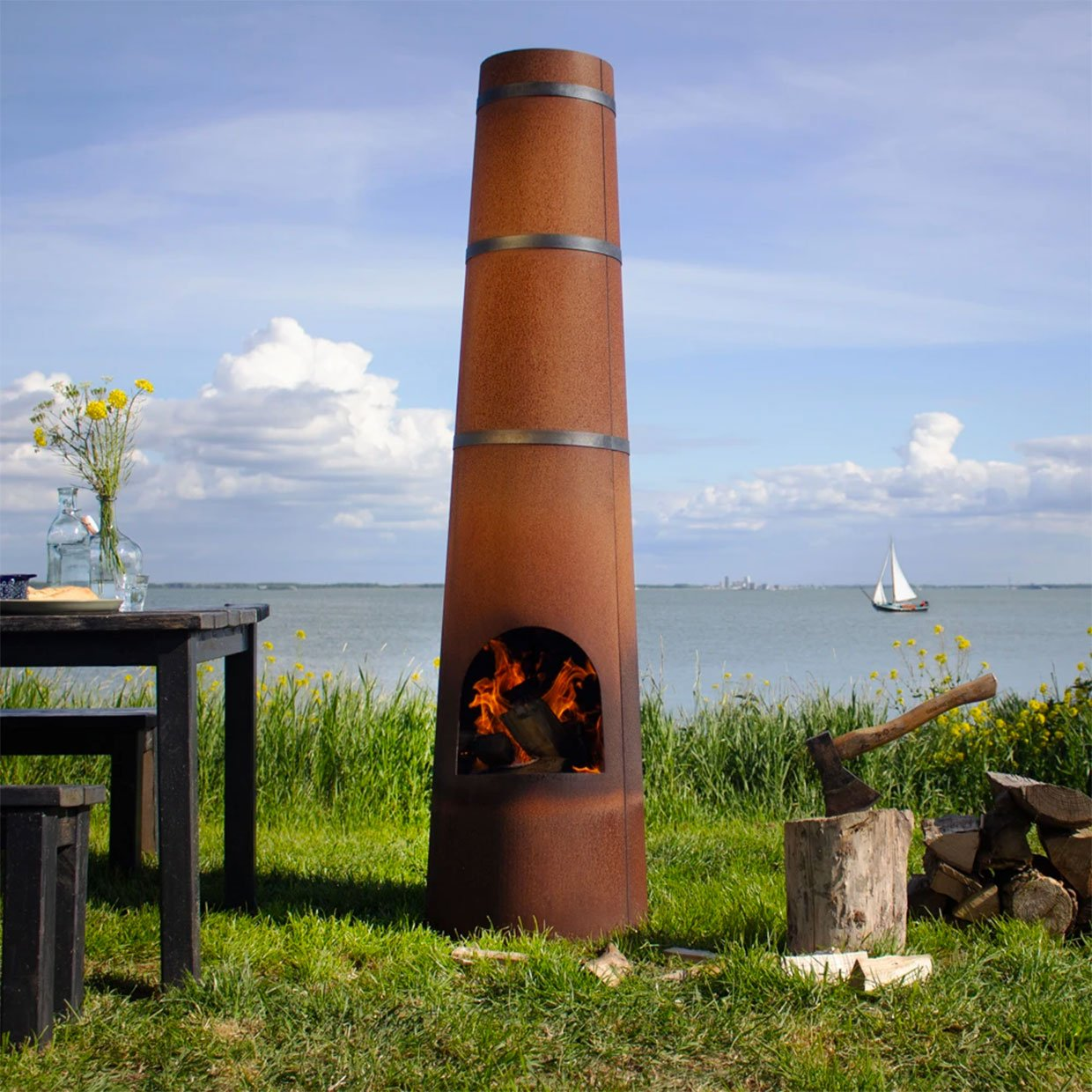 Smokestack Fireplace + Grill