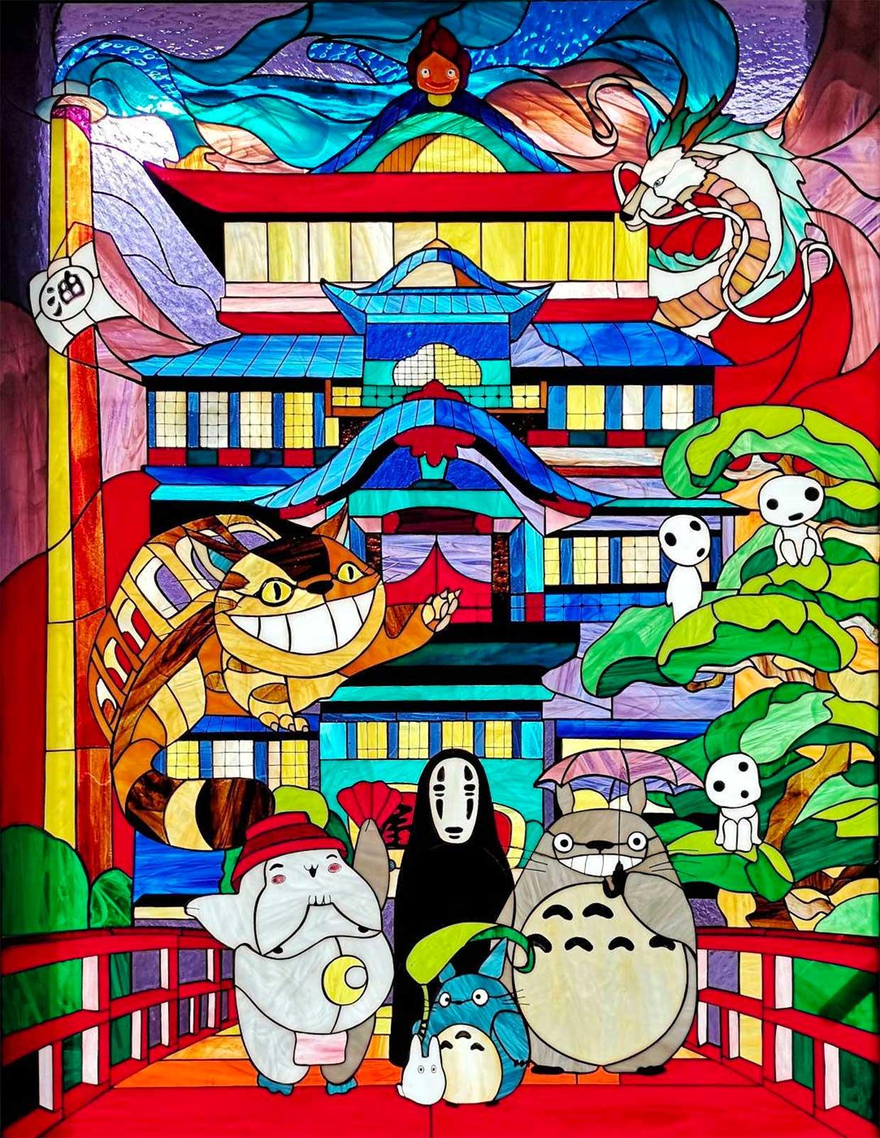 Studio Ghibli Stained Glass Window