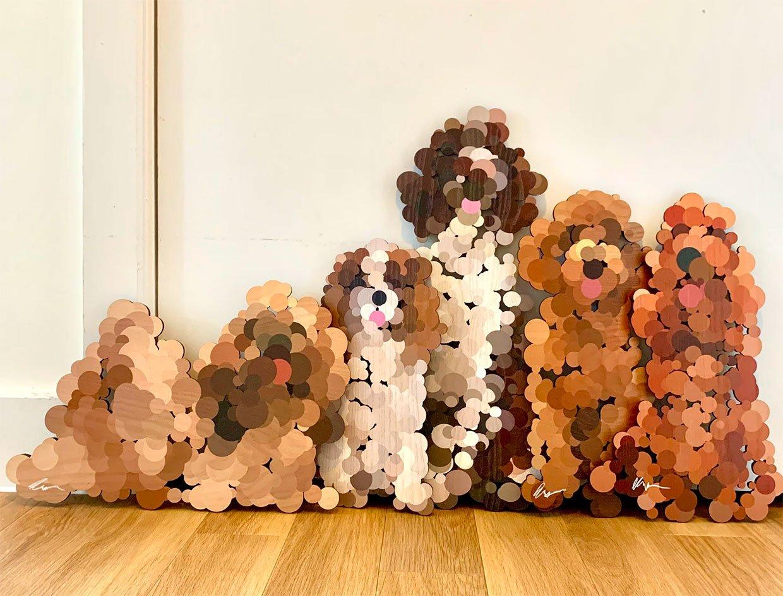 Pointilist Dog Wall Sculptures