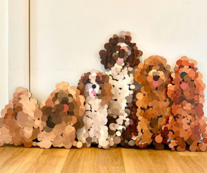 Pointilist Dog Wall Sculptures