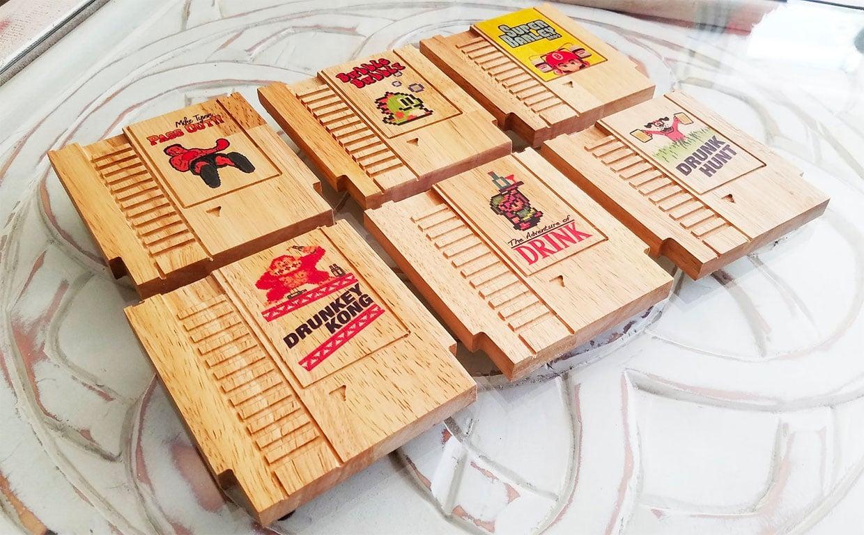 Game Cartridge Wood Coasters