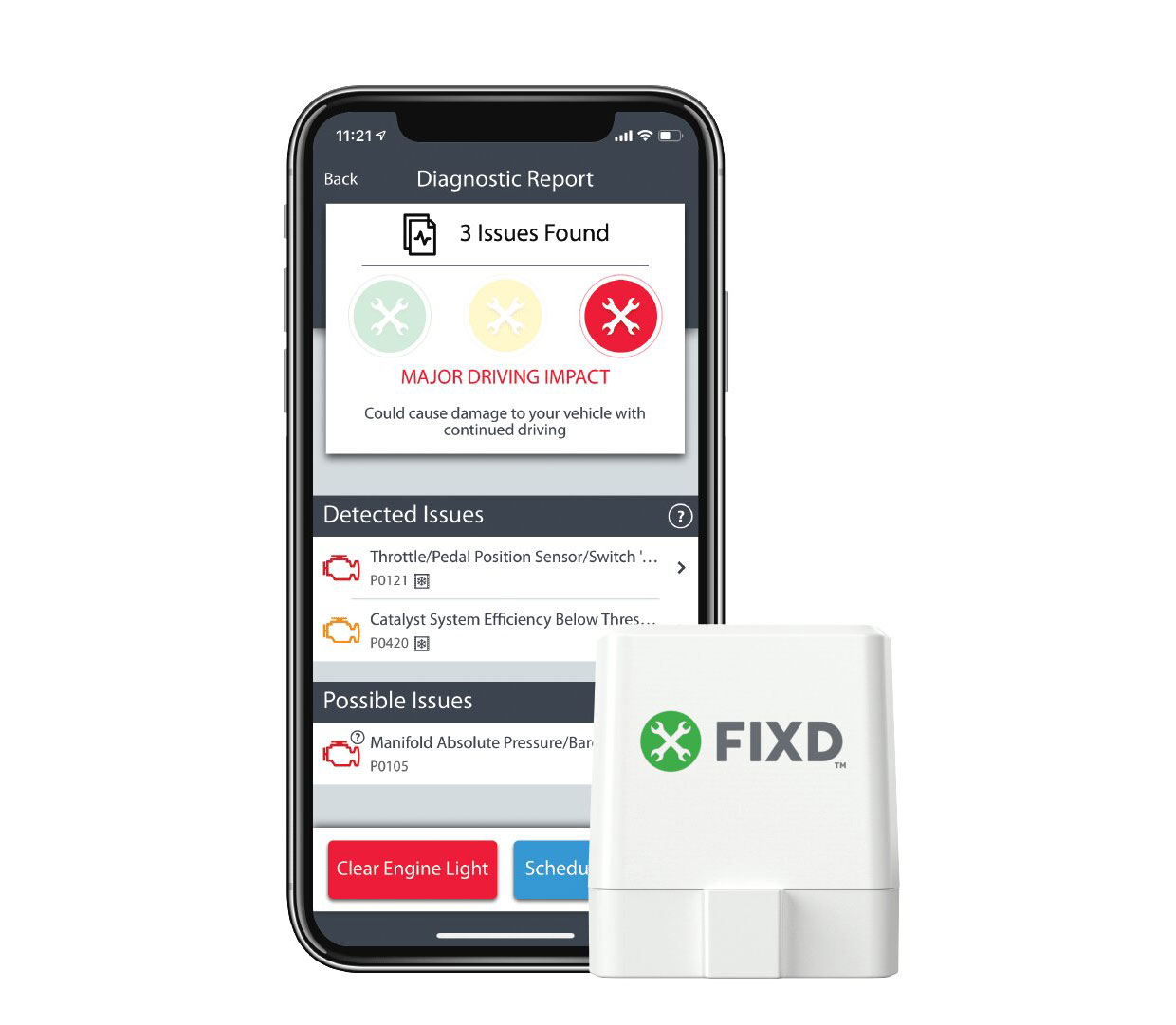 Fixd Car Sensor and Diagnostic App