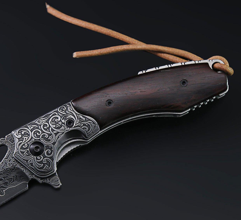 Mosasaurus Damascus Steel Folding Knife