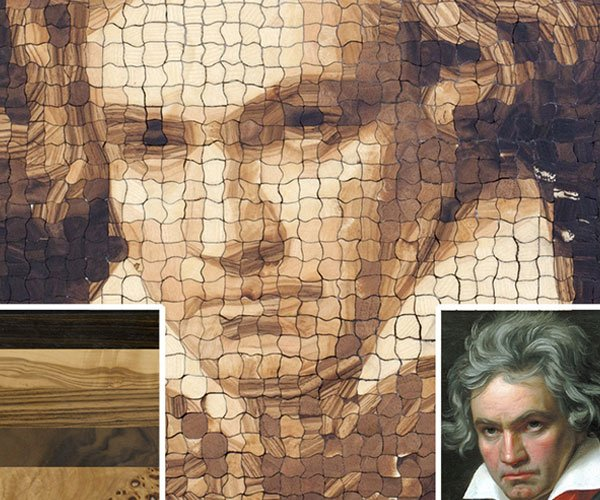 Computer-Milled Wooden Pixel Art