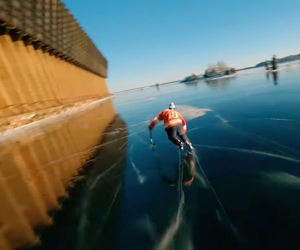 Drone Chases Ice Skater