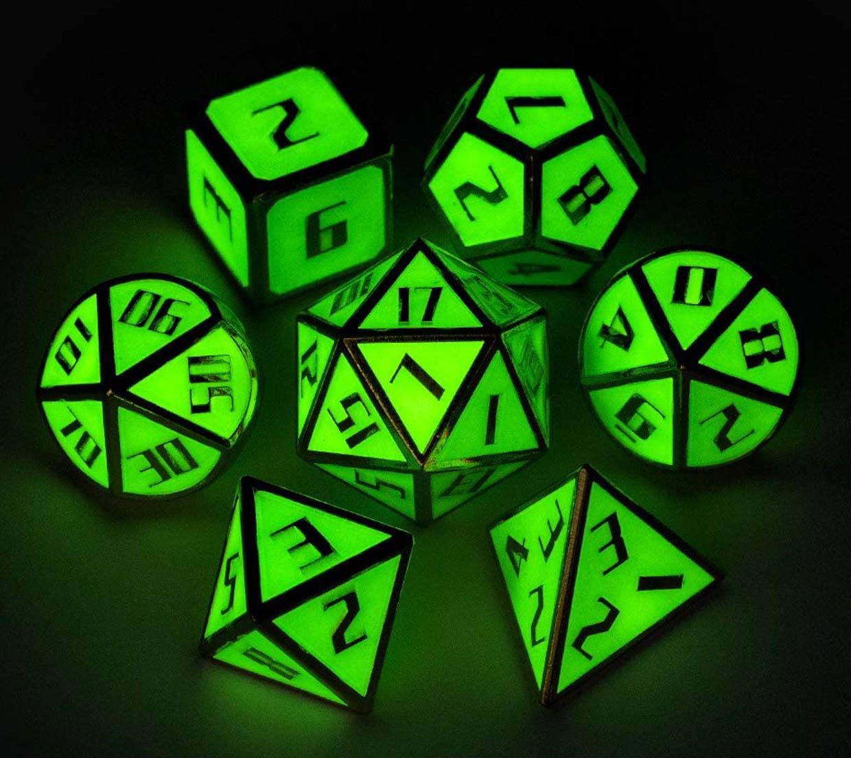 Glowing Metal RPG Dice